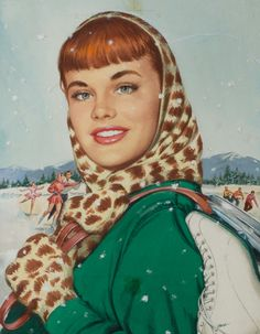 Ice Skaters, gouache on board 18 x 14 in. by Jones Ice Skating Images, Vintage Redhead, Ice Skaters, Celebrity Portraits, Pin Up Girls, Gouache, Redheads, Vintage Photos, Illustrators