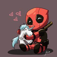Imagem de deadpool, unicorn, and cute