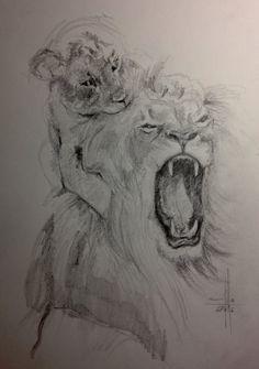Dibujo leon y cachorro a lapiz grafito sobre guarro A3