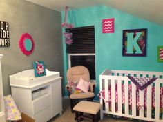 Baby girl nursery mismatched chic