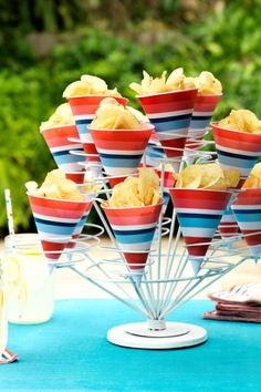 Serve potato chips in snow cone cups for easy snacking; a cupcake holder makes a convenient stand.