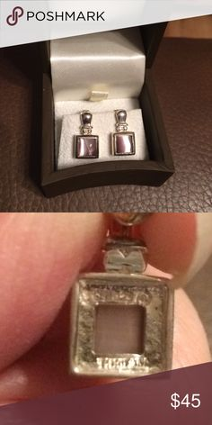 "Sterling Silver Lavender tigers eye earrings Purchased from Macy's a long time ago and never worn! These are brand new and gorgeous!!! Make me an offer!! They measure 5/8"" long and stamped .925. Jewelry Earrings"