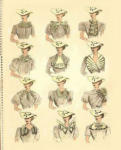 PetitPoulailler 1934 Détails Idees Couture, Pl 42 | by Le Petit Poulailler / Three French Hens 1930s Fashion, Fashion Art, Vintage Fashion, Emo Fashion, Gothic Fashion, Moda Vintage, Vintage Love, Vintage Dresses, Vintage Outfits