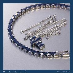 Bracciale e croce in acciaio e ceramica blu della collezione #ManClass. Steel and blue ceramic cross. #ManClass collection