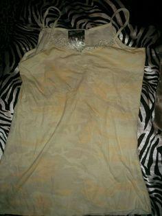 Spring Beach Hippie Punk Camo Orange Cream Lace V Neck Tank Top Shirt XS #Delias #TankCami
