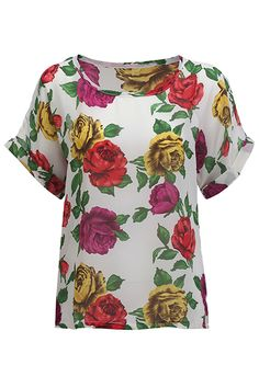 Loose White Floral T-shirt #Romwe