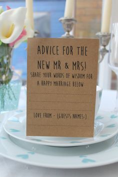 x10 Advice for the new Mr & Mrs Cards by RubyTuesdayDesign on Etsy