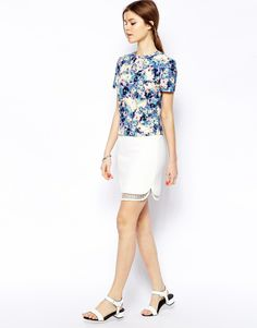 Warehouse at ASOS Lace Panel Skirt in Cream, £45