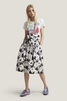 MARC JACOBS Stamp Floral Cotton Poplin Skirt. #marcjacobs #cloth #all