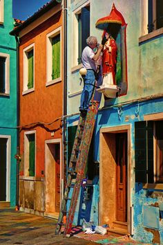 Rainbow Ladder by Mr Friks on 500px -- Artisan in Burano, Veneto, Italy
