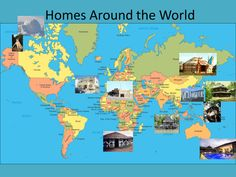 Homes around the world for Primary years. Contains large photos of homes such as yurts, apartments, tepees, igloos, desert houses, tree houses followed by information about each.