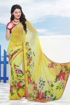Yellow Designer Party Wear Sarees From Onlinesareessshopping.com