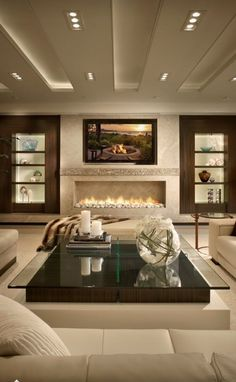 Luxury Home Interiors | Contemporary Living Room Designs with neutrals and dark wood furnishings
