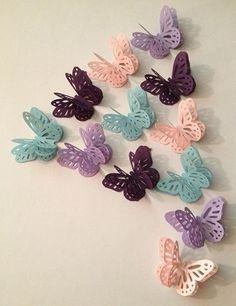 Borboletas de papel kit com 60 unidades Butterfly Wedding Theme, Love Birds Wedding, Butterfly Party, Diy Wedding Flowers, Butterfly Shape, Purple Butterfly, Vintage Butterfly, Wedding Ideas, Butterfly Table