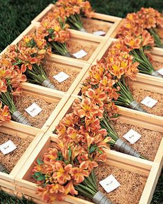 Interesting ideas for bridesmaid bouquets... Would have to make sure the oranges don't clash between the bride and bridesmaid bouquets