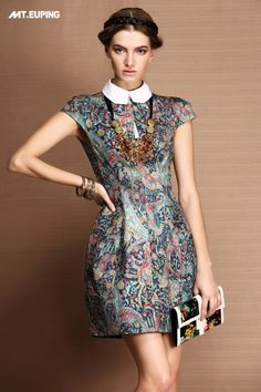 High quality product mt . euping2013 spring and summer women's fashion oil painting print one-piece dress false collar