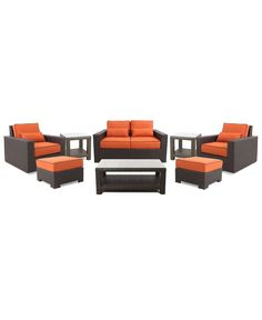 San Lucia Outdoor 8 Piece Seating Set: 1 Loveseat, 2 Swivel Chairs, 2 Ottomans, 1 Coffee Table and 2 End Tables
