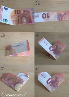"Geldgeschenk für liebe Menschen Instructions for a heart from a banknote. Related posts: Money Gift élégant et chic Legend Wedding Gift Money – Idea Money Gift To The Wedding Gifts Gifts Ideas – Katrin Bott Small farewell gift for all who are ""Fantastic"" Diy Birthday, Birthday Gifts, Don D'argent, Creative Money Gifts, Gift Money, Folding Money, Wrapping Ideas, Gift Wrapping, Diy And Crafts"