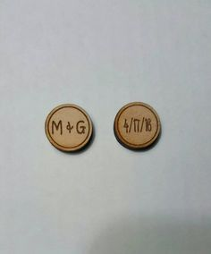 Bride and groom Initial Cufflinks Wood by 1TheCherryOnTop on Etsy