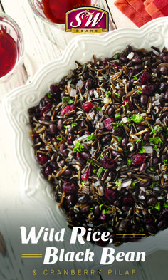 Add variety to your holiday table with this Wild Rice, Black Bean Cranberry Pilaf! Rice Recipes Vegan, Wild Rice Recipes, Bean Recipes, Dairy Free Recipes, Cooking Recipes, Vegetarian Recipes, Black Wild Rice Recipe, Fun Foods To Make, Soup Beans