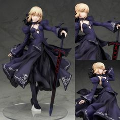 39.99$  Buy now - http://ali34l.shopchina.info/go.php?t=32744424547 - Japanese Anime PVC Action Figure Fate Stay Night Unlimited Blade Works Saber Black Evening Dress Version collectible Figurines  #buyininternet