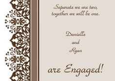 Cloud Nine Engagement Invitation Card in Taupe