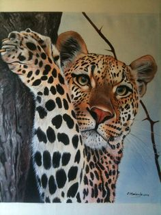 THE BEAUTIFUL LEOPARD painting oil tempera by TheLionKingMsalendo