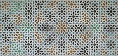 A subtle mosaic patterning from the Alcázar, the Royal Palace, Seville, Andalusia