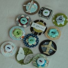 Cute button embellishments and a great use of scraps.