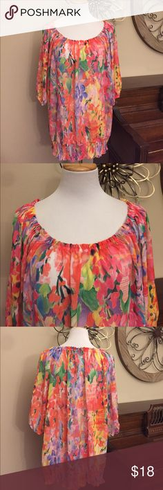 Lane Bryant 22/24 Colorful Sheer Summer Top Blouse Excellent Condition! Size 22/24 from Lane Bryant- So Pretty for Summer! Lane Bryant Tops Blouses