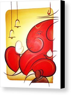 Lord Ganesha Canvas Print by Art 'n' Soul. All canvas prints are professionally printed, assembled, and shipped within 3 - 4 business days and delivered ready-to-hang on your wall. Choose from multiple print sizes, border colors, and canvas materials. Ganesha Drawing, Lord Ganesha Paintings, Ganesha Art, Krishna Painting, Ganesha Rangoli, Diwali Rangoli, Easy Rangoli, Indian Art Paintings, Modern Art Paintings