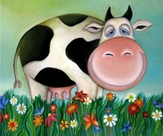 Sleepy cow Canvas print - Nursery Art for Kids  (this one's mine :) )