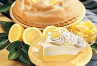 Double Cream Lemon Pie - Layers of rich lemony custard with a sour cream topping - light and refreshing.