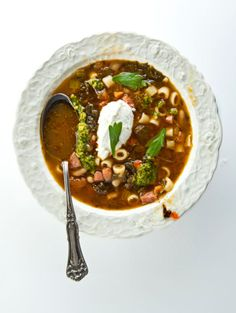 The concept of this soup is to use up all the bits of vegetables and pantry items in your kitchen to create a simple soup that will be inherently different each time you make it.