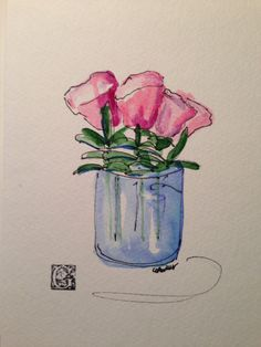 Pink Blooms Watercolor Card by gardenblooms on Etsy, $3.50
