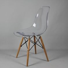 NEW DSW Wooden Legs Eames Panton Ghost Style Chair - Clear Transparent Seat