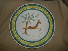 Vintage Arabia Finland LEAPING DEER PLATE by PastPossessionsOnly, $14.95