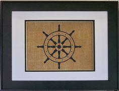 Ship wheel nautical wall art decor on burlap by RebelsRevivals, $18.00
