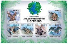 Mozambique - Vampire Bats - 6 Stamp Mint Sheet 13A-599 8709c13965e2f