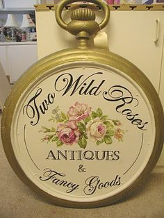 business sign Christie painted for Two Wild Roses in Crestline Ca. Vintage Shabby Chic, Shabby Chic Style, Vintage Decor, Shaby Chic, Romantic Cottage, Cottage Chic, Romantic Roses, Rose Cottage, Shelf Talkers