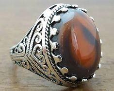 925K Sterling Silver Men Ring With Natural Agate Stone