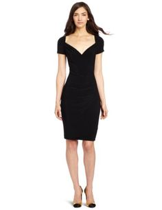 KAMALIKULTURE Women's Short Sleeve Sweetheart Side Draped Dress. Model's waist looks photoshopped.