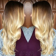 Brunette to Blonde faded ombre on long layers and loose beachy curls. Sacramento hairstylist. #styledbykate | Instagram: @StyledByKate_
