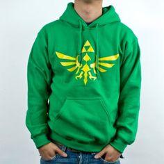 Amazon.com: Nintendo Legend of Zelda Triforce Logo Hooded Sweater in Green: Clothing