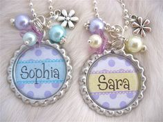 Sweet Turquoise or Yellow with Purple polka dots personalized silver bottle cap pendant necklace, keychain or pull. Great for your little princess to wear everywhere. Has coordinating beads and a princess crown charm attached. Mothers and grandmothers can give as a gift or present for