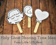 Sharing Time Idea from the 2015 Outline ENCOURAGE UNDERSTANDING AND APPLICATION: Read Moroni 10:5 together, and testify that the Holy Ghost will help us learn the truth. Tell the children that sometimes they may get a warm, peaceful feeling while at church, while doing acts of kindness, or as they pray and read the scriptures. Explain that this peaceful feeling is the Holy Ghost letting them know that these things are true and right. Divide the children into class groups,...  Read more »