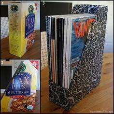 Recicla y organiza tus papeles Recicla caja de cereal
