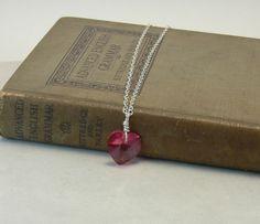 Sterling Silver necklace with rose heart por JimDavisDesigns, $27.00