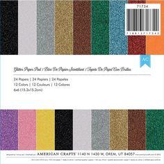 Ellen Hutson LLC - American Crafts Specialty Paper, Glitter 6x6, $6.00