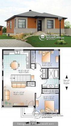 Stone cmet house Bungalow House Plans, Bungalow House Design, House Front Design, Tiny House Plans, Small Modern House Plans, Beautiful House Plans, Simple House Plans, Brick Ranch Houses, Architecture Design